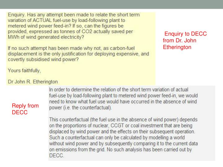 Enquiry to DECC from Dr. John Etherington