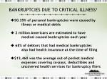 bankruptcies due to critical illness 1