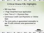 critical illness cbl highlights