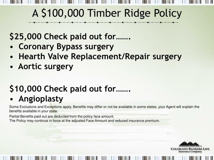 A $100,000 Timber Ridge Policy