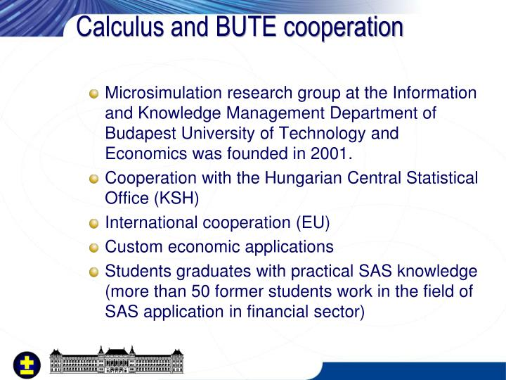 Calculus and BUTE cooperation