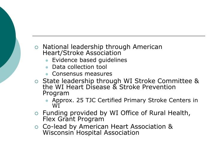National leadership through American Heart/Stroke Association