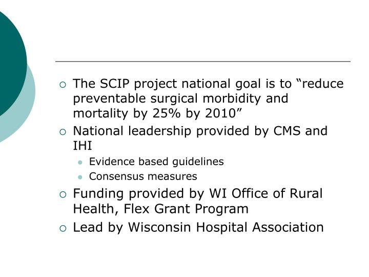 "The SCIP project national goal is to ""reduce preventable surgical morbidity and mortality by 25% by 2010"""