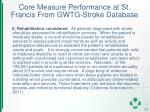 core measure performance at st francis from gwtg stroke database7