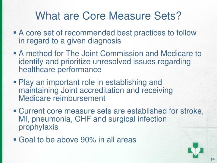 What are Core Measure Sets?