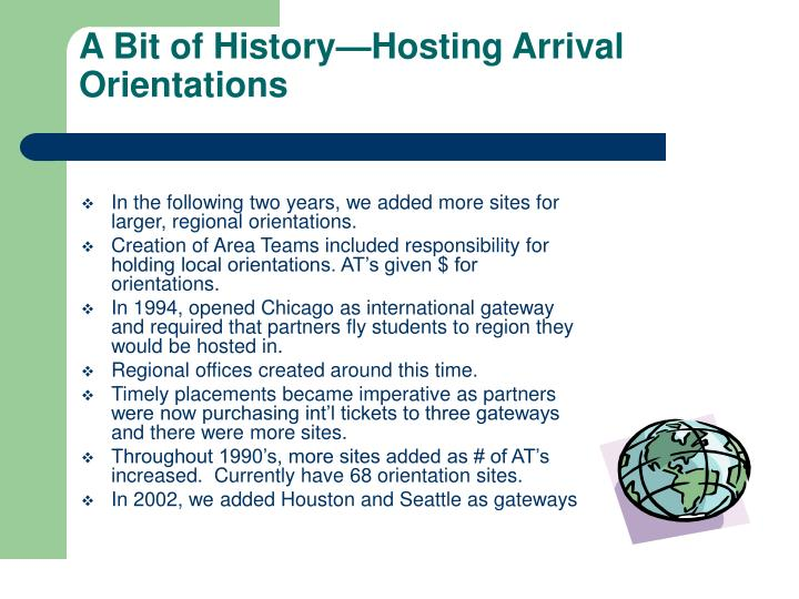 A Bit of History—Hosting Arrival Orientations