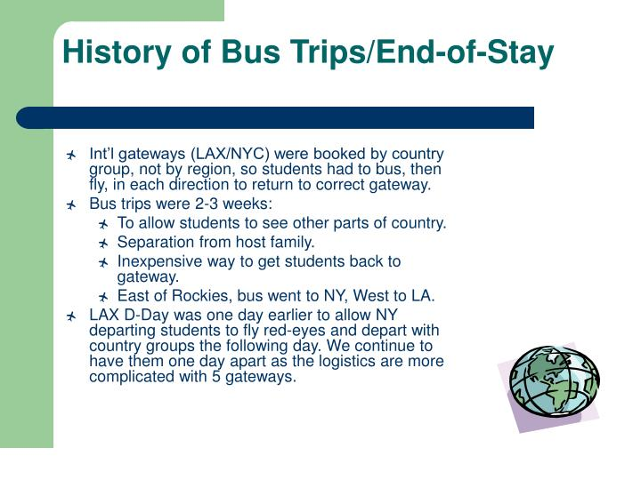 History of Bus Trips/End-of-Stay