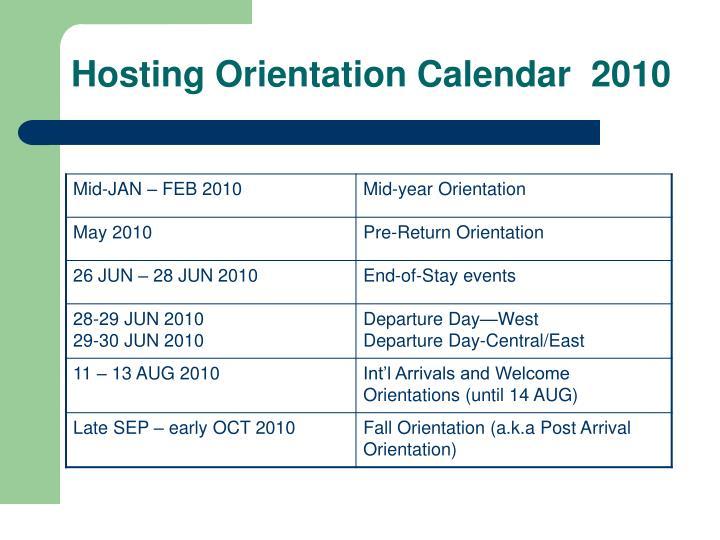 Hosting Orientation Calendar  2010