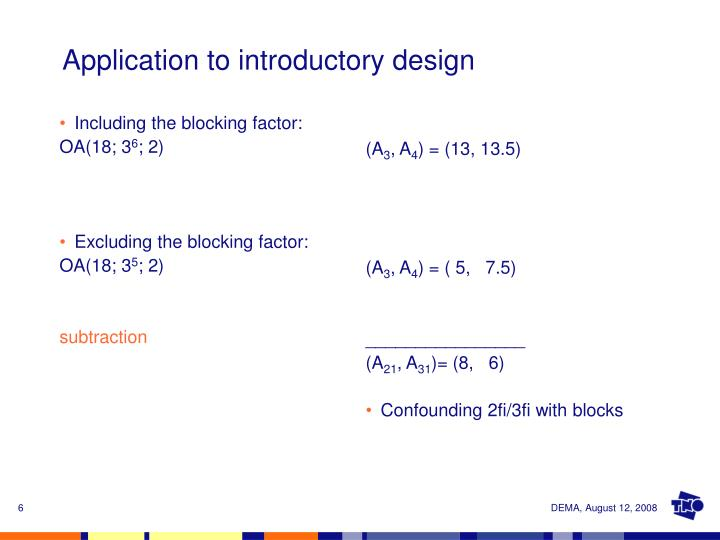 Including the blocking factor: