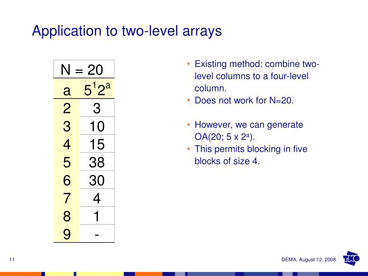 Application to two-level arrays