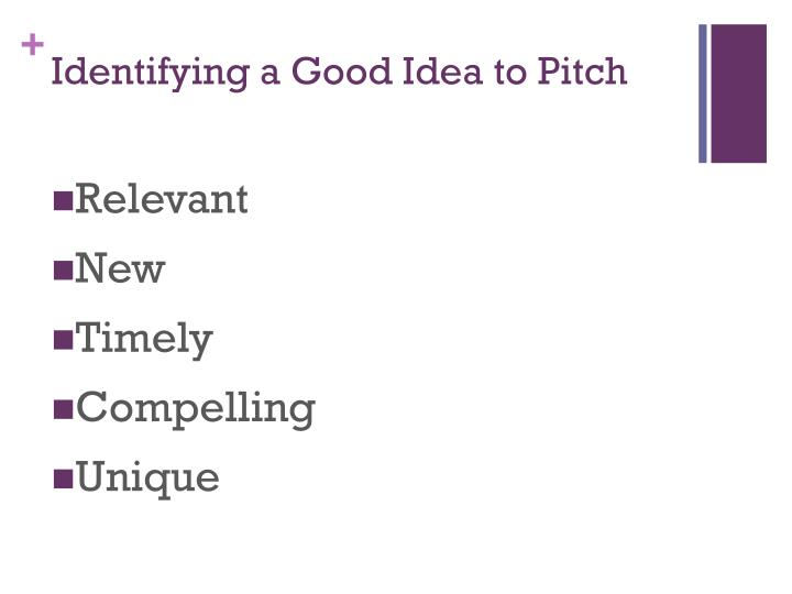 Identifying a Good Idea to Pitch
