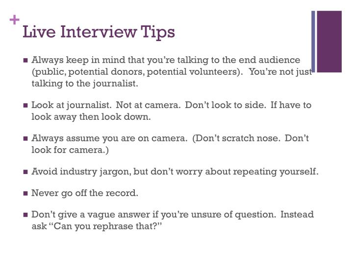 Live Interview Tips