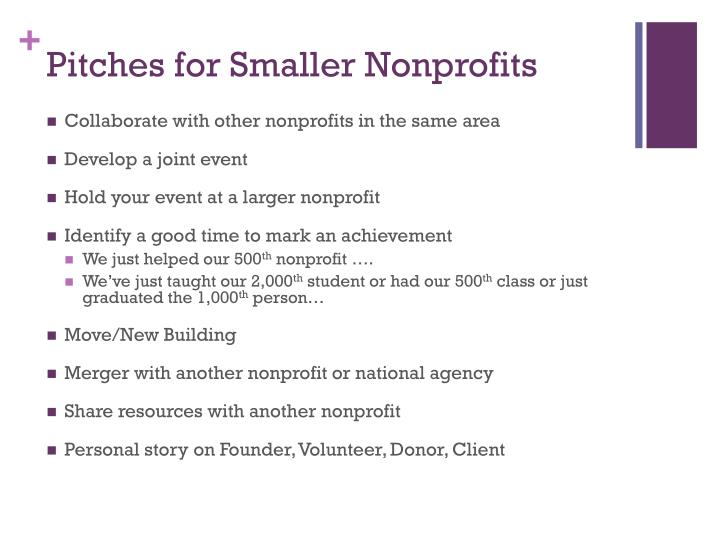 Pitches for Smaller Nonprofits