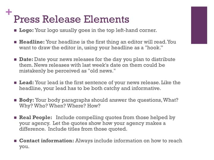 Press Release Elements