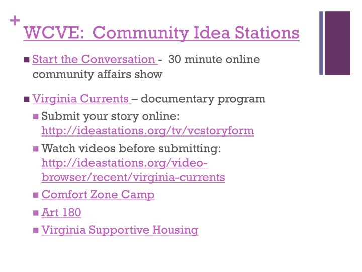 WCVE:  Community Idea Stations