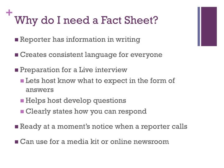 Why do I need a Fact Sheet?