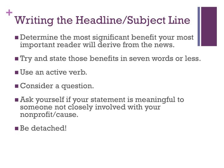 Writing the Headline/Subject Line