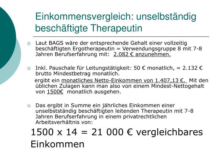 Einkommensvergleich: unselbständig beschäftigte Therapeutin
