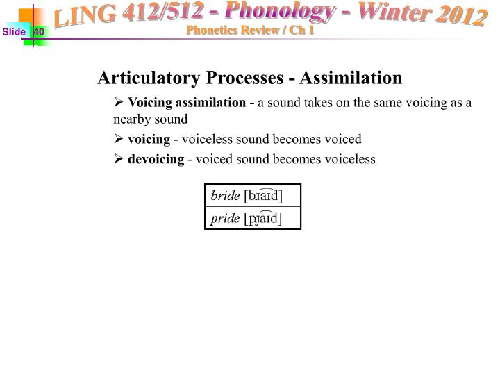 Articulatory Processes - Assimilation