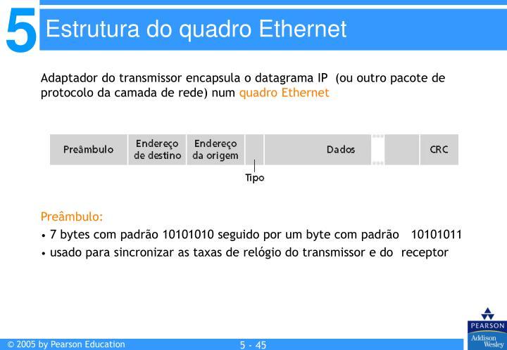Adaptador do transmissor encapsula o datagrama IP  (ou outro pacote de protocolo da camada de rede) num