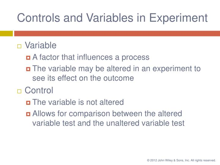 Controls and Variables in Experiment
