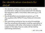 de identification standards for dbgap