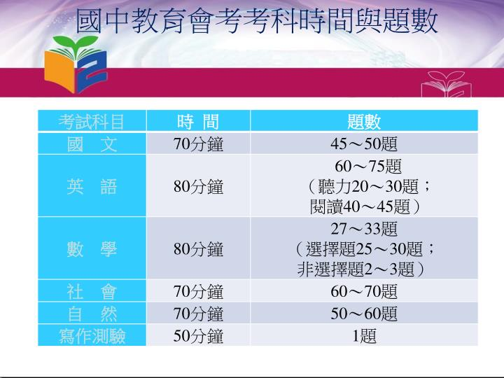 國中教育會考考科時間與題數
