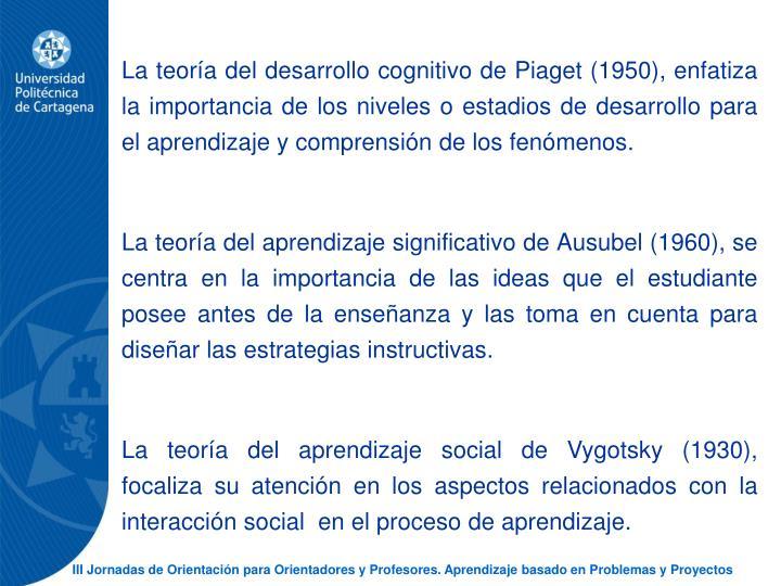 La teora del desarrollo cognitivo de Piaget (1950), enfatiza la importancia de los niveles o estadios de desarrollo para el aprendizaje y comprensin de los fenmenos.