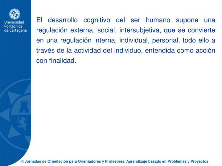 El desarrollo cognitivo del ser humano supone una regulacin externa, social, intersubjetiva, que se convierte en una regulacin interna, individual, personal, todo ello a travs de la actividad del individuo, entendida como accin con finalidad.