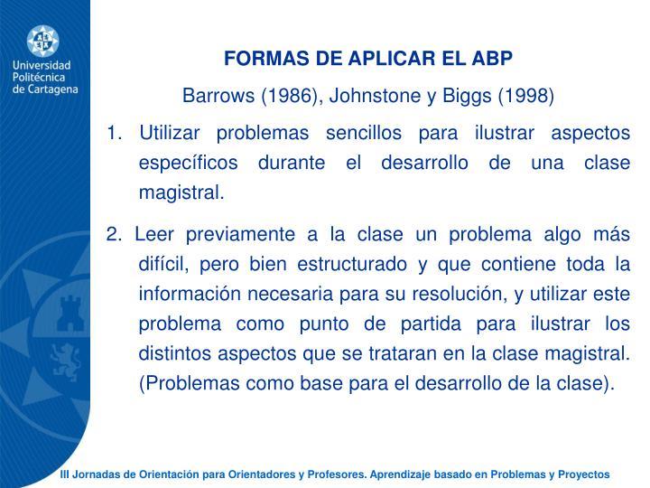 FORMAS DE APLICAR EL ABP