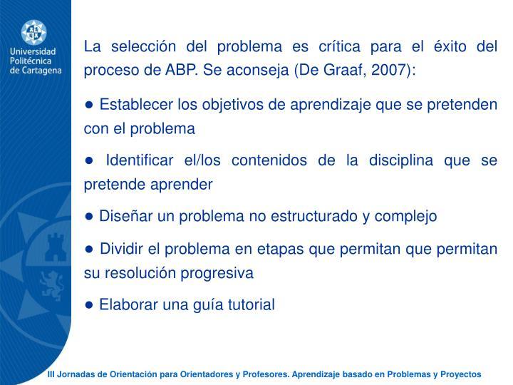 La seleccin del problema es crtica para el xito del proceso de ABP. Se aconseja (De Graaf, 2007):
