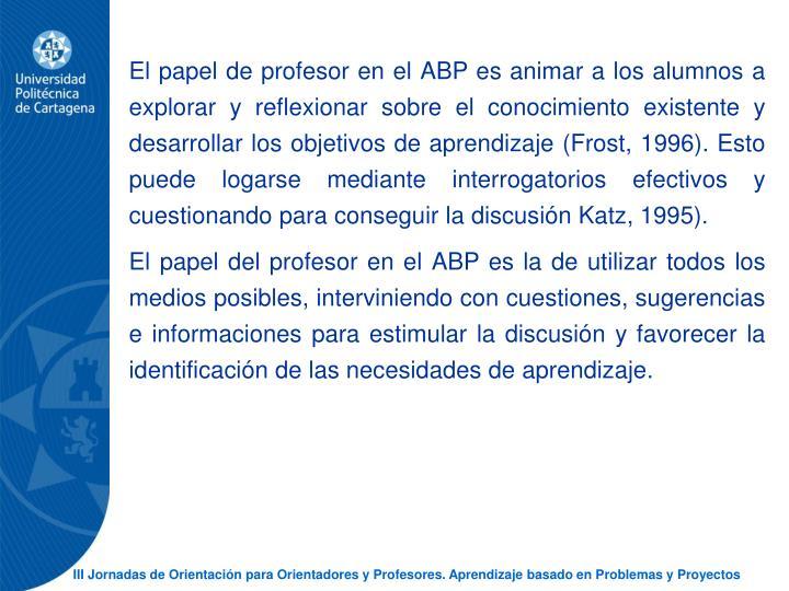 El papel de profesor en el ABP es animar a los alumnos a explorar y reflexionar sobre el conocimiento existente y desarrollar los objetivos de aprendizaje (Frost, 1996). Esto puede logarse mediante interrogatorios efectivos y cuestionando para conseguir la discusin Katz, 1995).