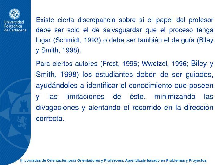 Existe cierta discrepancia sobre si el papel del profesor debe ser solo el de salvaguardar que el proceso tenga lugar (Schmidt, 1993) o debe ser tambin el de gua (Biley y Smith, 1998).