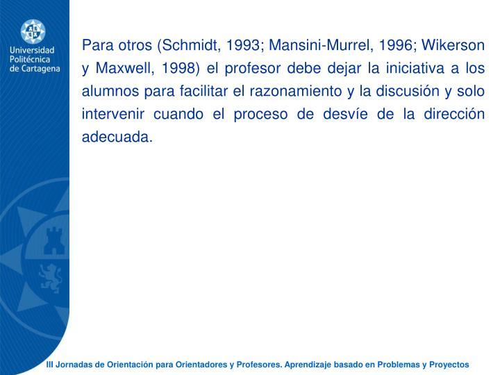 Para otros (Schmidt, 1993; Mansini-Murrel, 1996; Wikerson y Maxwell, 1998) el profesor debe dejar la iniciativa a los alumnos para facilitar el razonamiento y la discusin y solo intervenir cuando el proceso de desve de la direccin adecuada.