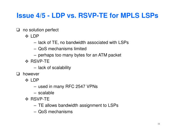 Issue 4/5 - LDP vs. RSVP-TE for MPLS LSPs