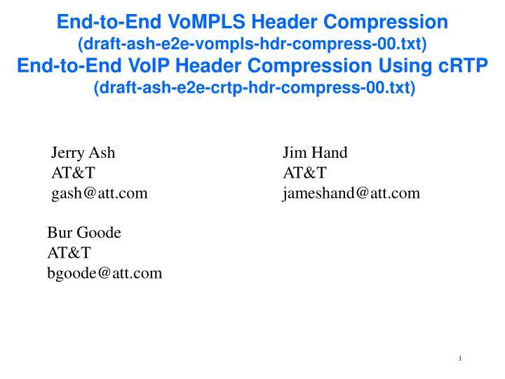 End-to-End VoMPLS Header Compression