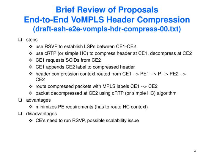 Brief Review of Proposals