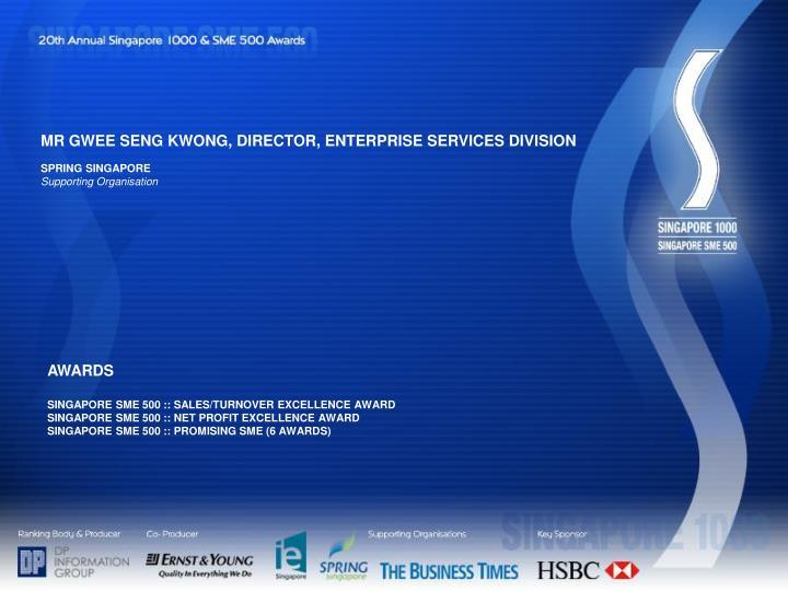 MR GWEE SENG KWONG, DIRECTOR, ENTERPRISE SERVICES DIVISION