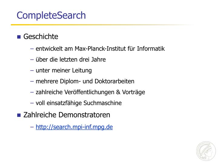 CompleteSearch