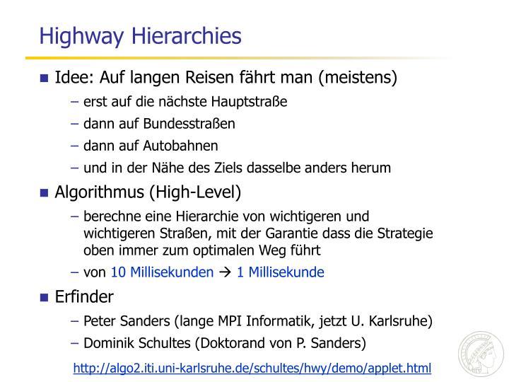 Highway Hierarchies