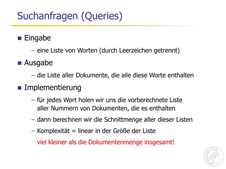 Suchanfragen (Queries)