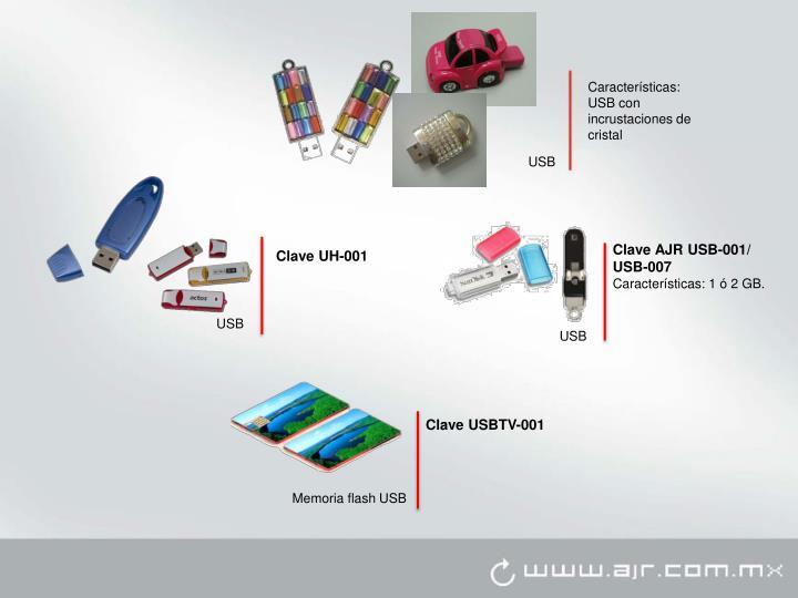Características: USB con incrustaciones de cristal