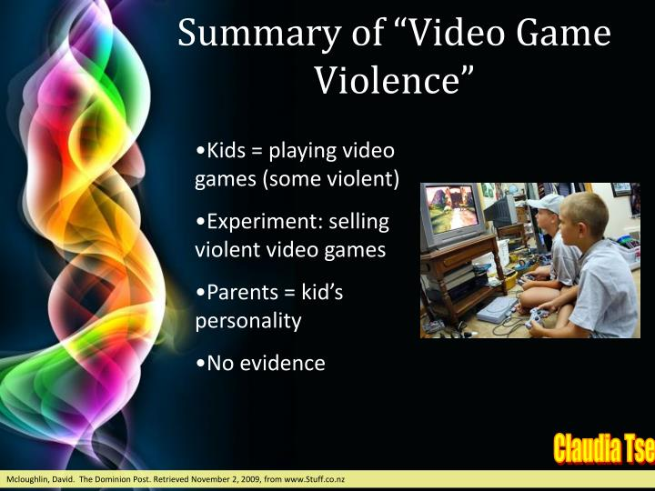 "Summary of ""Video Game Violence"""