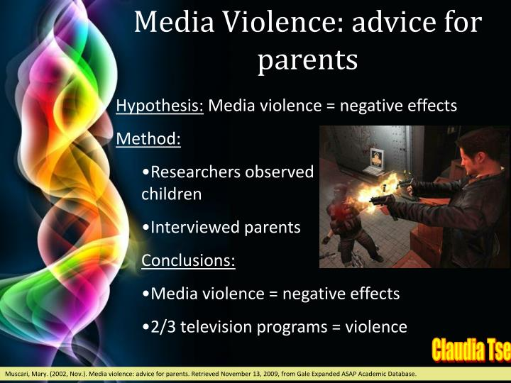 Media Violence: advice for parents