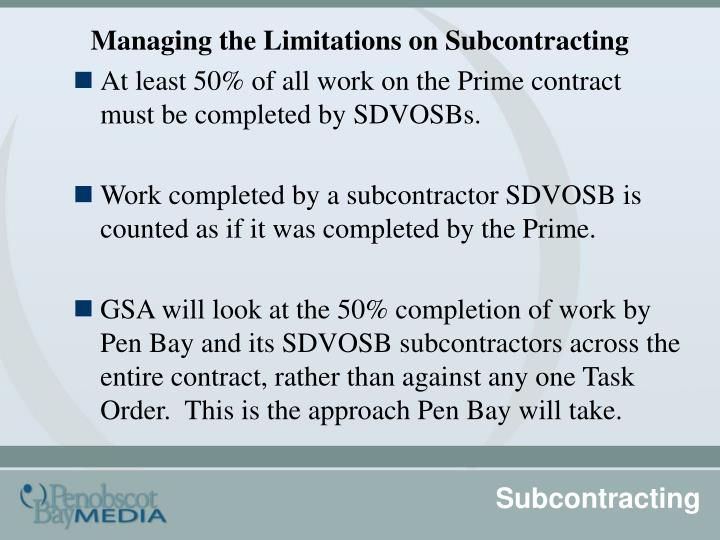 Managing the Limitations on Subcontracting