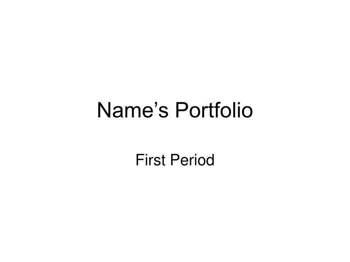 Name's Portfolio