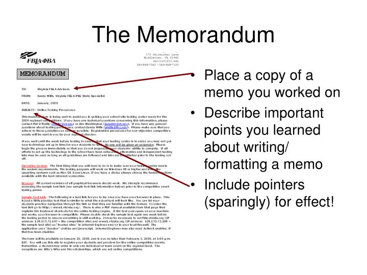 Place a copy of a memo you worked on