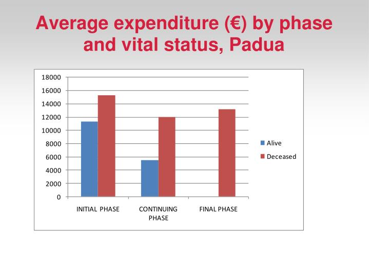 Average expenditure (€) by phase and vital status, Padua