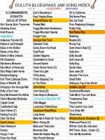 duluth bluegrass jam song index 11 3 10 focus songs new songs