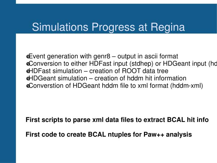 Simulations progress at regina